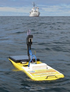 A remote-controlled glider, similar to the one shown here, will measure ocean acidification in Prince William Sound from May to September. Photo credit: Richard Feely, NOAA/PMEL
