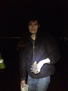 The author, Julia Sanders, on her first razor clam dig: night at Moclips Beach, WA